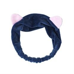Темно-синяя повязка с ушками - фото 6047